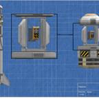 Links - Die Sandstone Rakete mit Ladung   Mitte - Die Autonome Fallschirmeinheit   Rechts - Die komplette Testsonde