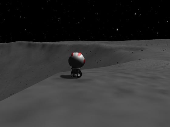 Jeb am Rande eines Kraters